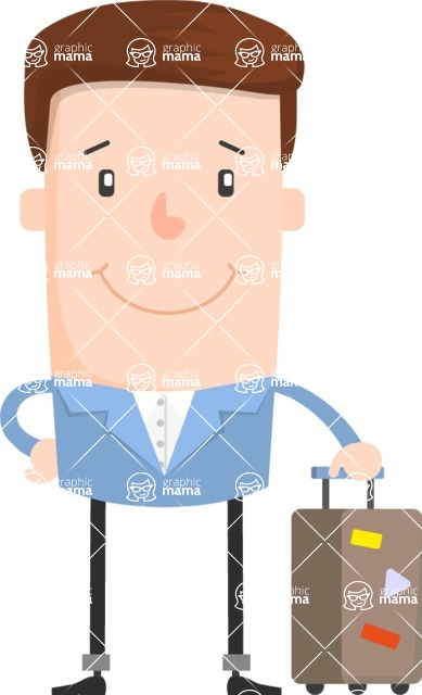 Funny Vector Cartoon Graphic Maker - Smiling guy traveler