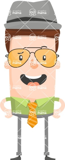 Funny Vector Cartoon Graphic Maker - Quirky male with bowler hat and sunglasses