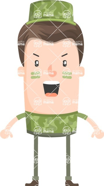 Funny Vector Cartoon Graphic Maker - Angry army officer