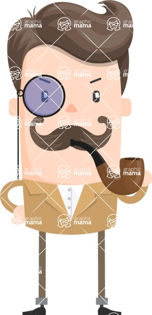 Funny Vector Cartoon Graphic Maker - Detective with monocle, mustache and pipe
