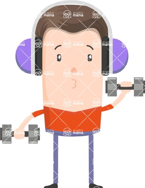 Funny Vector Cartoon Graphic Maker - Gym enthusiast with dumbbells