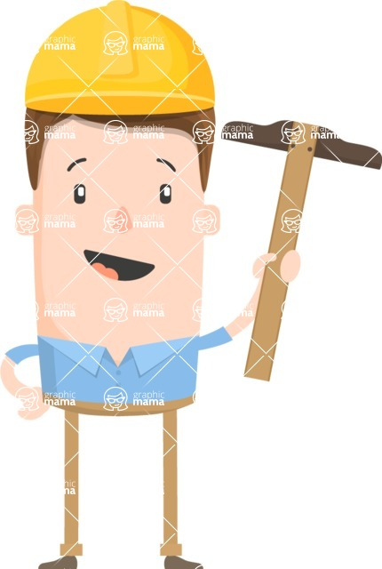 Funny Vector Cartoon Graphic Maker - Positive construction worker