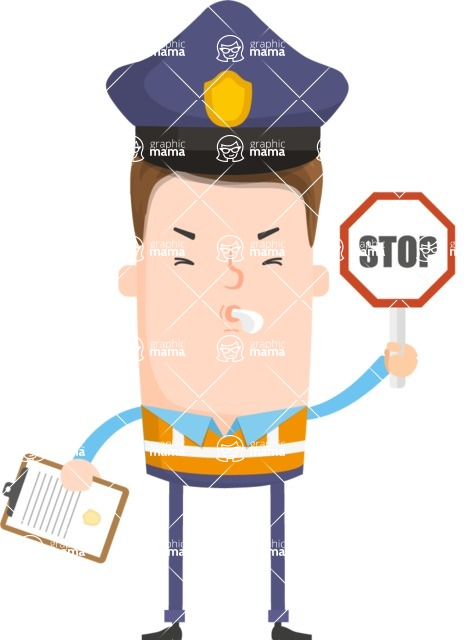 Funny Vector Cartoon Graphic Maker - Traffic police officer