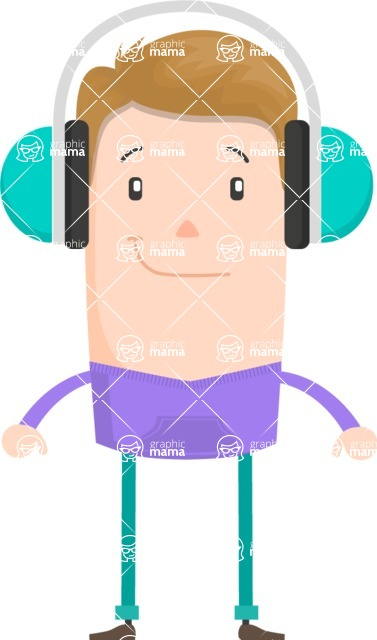 Funny Vector Cartoon Graphic Maker - City guy with headphones