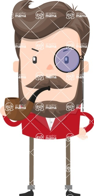 Funny Vector Cartoon Graphic Maker - Aristocratic man with monocle and beard