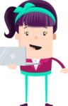 Funny Vector Cartoon Graphic Maker - Girl with purple hair and laptop