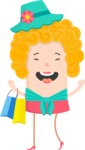 Funny Vector Cartoon Graphic Maker - Simple happy shopping woman