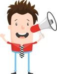 Funny Vector Cartoon Graphic Maker - Enthusiastic guy with megaphone