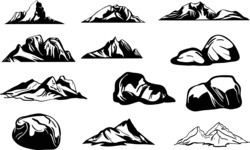 Vector Silhouettes Mega Bundle - Vector Rocks and Mountains Silhouette Set