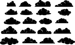 Vector Silhouettes Mega Bundle - Simple Vector Cloud Silhouettes Set