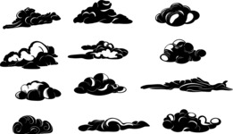 Vector Silhouettes Mega Bundle - 12 Vector Transparent Cloud Silhouettes