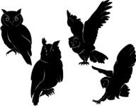 Vector Silhouettes Mega Bundle - Vector Owl Silhouettes Set