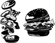 Vector Silhouettes Mega Bundle - Vector Burger Silhouettes Set