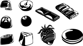 Vector Silhouettes Mega Bundle - Vector Chocolate Desserts Silhouettes Set