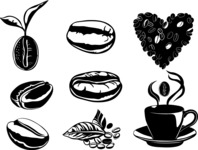 Vector Silhouettes Mega Bundle - Vector Coffee Beans Silhouettes Set