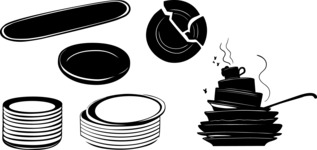 Vector Silhouettes Mega Bundle - Vector Dishes Silhouettes Set
