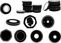 Vector Silhouettes Mega Bundle -  Vector Coin Silhouettes Set
