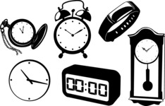Vector Silhouettes Mega Bundle - Vector Clock Silhouettes Set