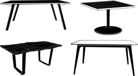 Vector Silhouettes Mega Bundle - Vector Table Silhouettes Set