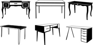 Vector Silhouettes Mega Bundle - Vector Desk Silhouettes Set