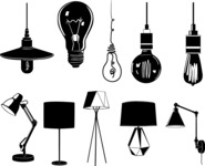 Vector Silhouettes Mega Bundle - Vector Light Bulbs and Lamps Silhouettes Set
