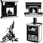 Vector Silhouettes Mega Bundle - Vector Fires and Fireplaces Silhouettes Set