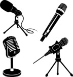 Vector Silhouettes Mega Bundle - Vector Microphone Silhouettes Set