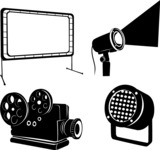 Vector Silhouettes Mega Bundle - Vector Cinema Items Silhouettes Set