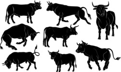Vector Silhouettes Mega Bundle - Vector Bull Silhouettes Set