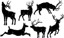 Vector Silhouettes Mega Bundle - Vector Deer Silhouettes Set