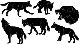 Vector Silhouettes Mega Bundle - Vector Wolf Silhouettes Set