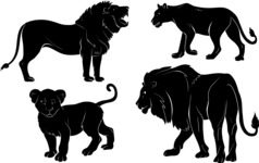 Vector Silhouettes Mega Bundle - Vector Lion Silhouettes Set