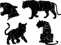 Vector Silhouettes Mega Bundle - Vector Tiger Silhouettes Set