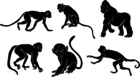 Vector Silhouettes Mega Bundle - Vector Monkey Silhouettes Set