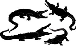 Vector Silhouettes Mega Bundle - Vector Crocodile Silhouettes Set