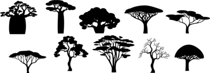 Vector Silhouettes Mega Bundle - African Tree Silhouettes Vector Set