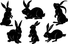Vector Silhouettes Mega Bundle - Vector Rabbit Silhouettes Set