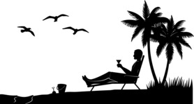 Vector Silhouettes Mega Bundle - Man Relaxing on Beach Vector Silhouette