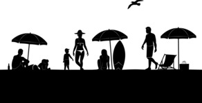 Vector Silhouettes Mega Bundle - People on Beach Vector Silhouette