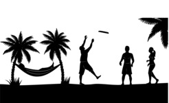 Vector Silhouettes Mega Bundle - Summer Vacation Beach Landscape Silhouette