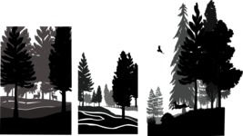 Vector Silhouettes Mega Bundle - Vertical Forest Silhouettes Vector Set