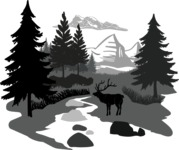 Vector Silhouettes Mega Bundle - Vector Forest Landscape with Mountain Silhouette