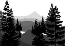 Vector Silhouettes Mega Bundle - Mountains and Trees Vector Silhouette