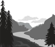 Vector Silhouettes Mega Bundle - Mountains and River Landscape Vector Silhouette