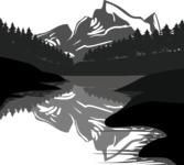 Vector Silhouettes Mega Bundle - Lake Landscape Silhouette