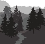 Vector Silhouettes Mega Bundle - Vector Woods and a River Landscape Silhouette