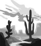 Vector Silhouettes Mega Bundle - Desert with Rocks and Cactuses Vector Silhouette