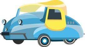 vector vehicle graphics - Flat Car, Truck, Bicycle, Plane Graphics Mega Bundle - Retro Car 12
