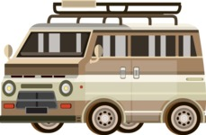 vector vehicle graphics - Flat Car, Truck, Bicycle, Plane Graphics Mega Bundle - Van 1