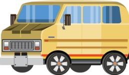 vector vehicle graphics - Flat Car, Truck, Bicycle, Plane Graphics Mega Bundle - Van 2
